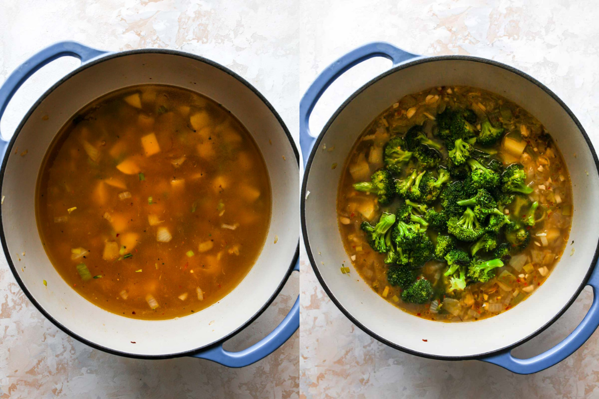 Vegetable broth and broccoli being added to a pot of soup