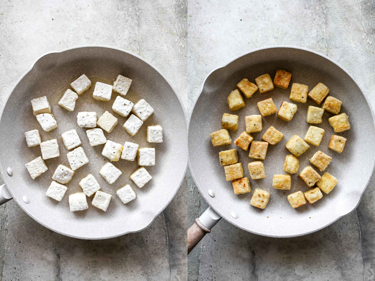 Tofu being pan-seared until crispy