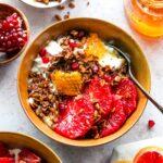 Protein Granola Breakfast Bowls with Yogurt, Citrus, and Honey