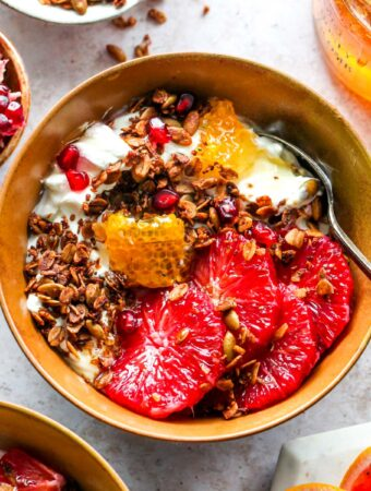 Protein Granola Breakfast Bowls with Yogurt, Citrus, and Honey
