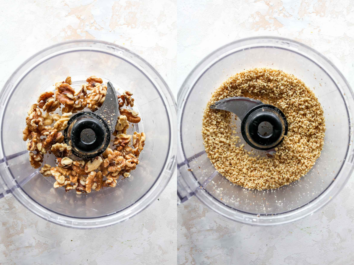Walnuts being pulsed in a food processor