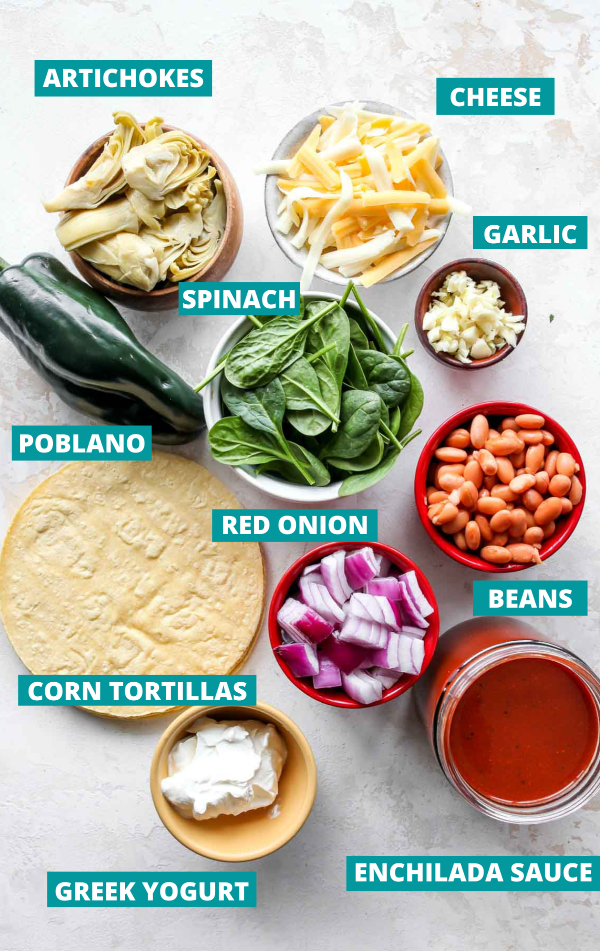 Recipe ingredients in bowls on a white board with blue labels