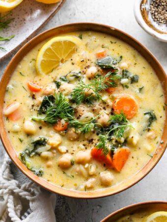 Lemony Greek Chickpea Soup (Avgolemono Soup)