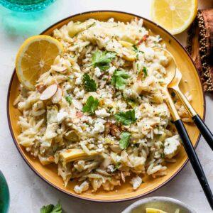 Lemon Butter Artichoke Orzo Salad