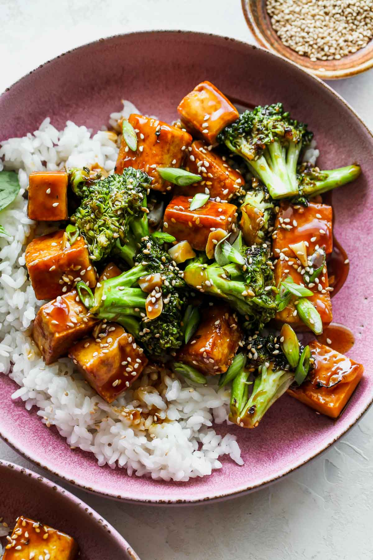 Tofu and veggies served over rice and topped with scallions and sesame seeds