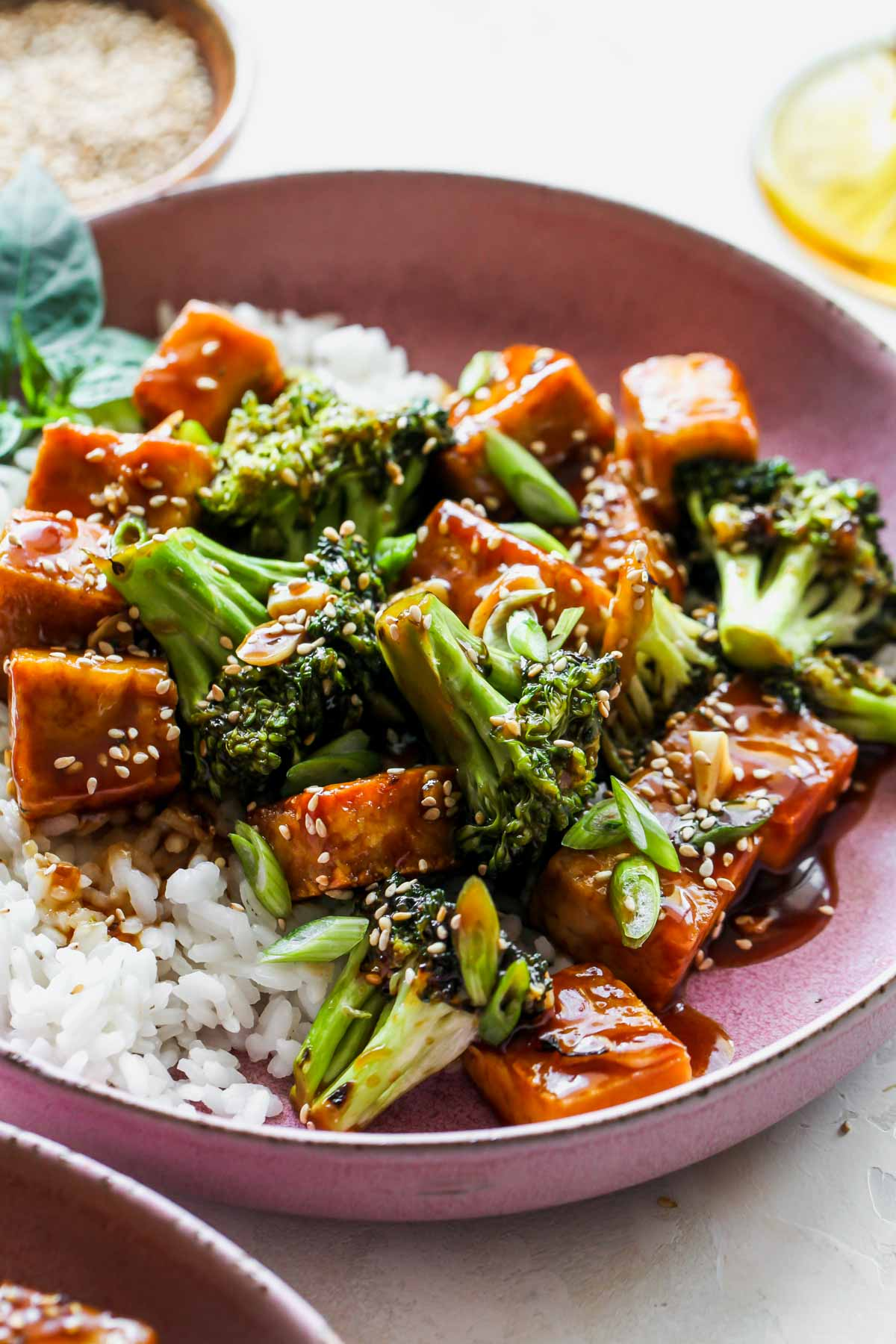 Tofu tossed in homemade teriyaki sauce and served over rice in a pink bowl
