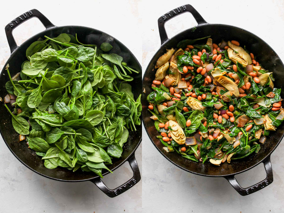 Fresh spinach, beans, and artichokes being mixed into a pan of onions and peppers