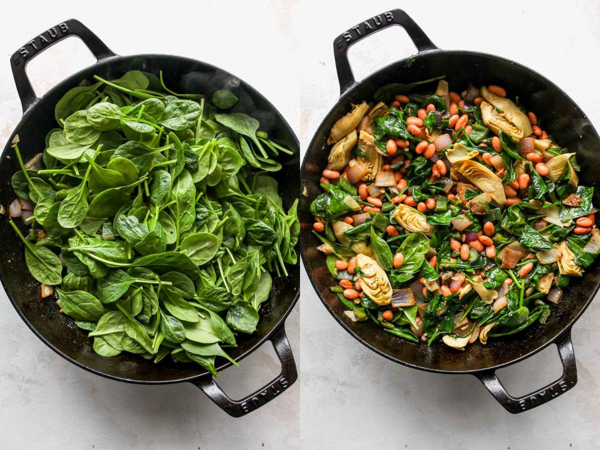 Taze ıspanak, fasulye ve enginar bir tavaya soğan ve biberle karıştırılır.