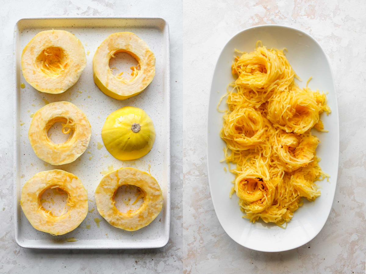 Spaghetti squash being sliced into rings, and styled on a platter