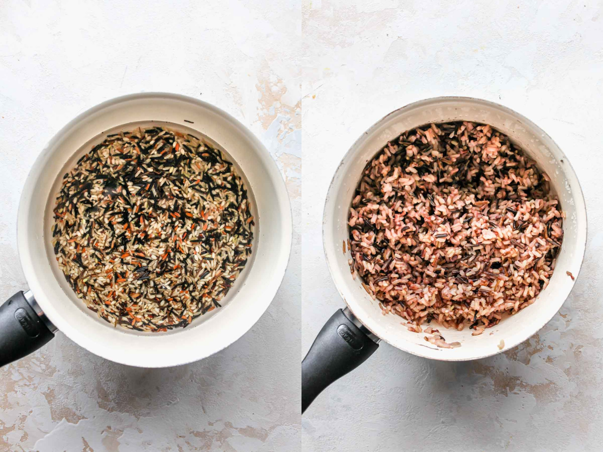 Wild rice being cooked in a saucepan