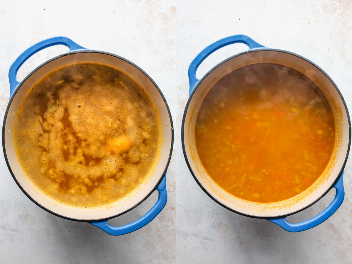 Broth, chickpeas, and orzo being simmered in a blue Dutch oven