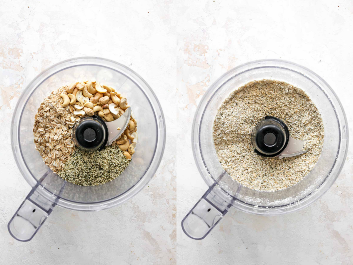Oats, Cashews, and Hemp seeds being blended in a food processor
