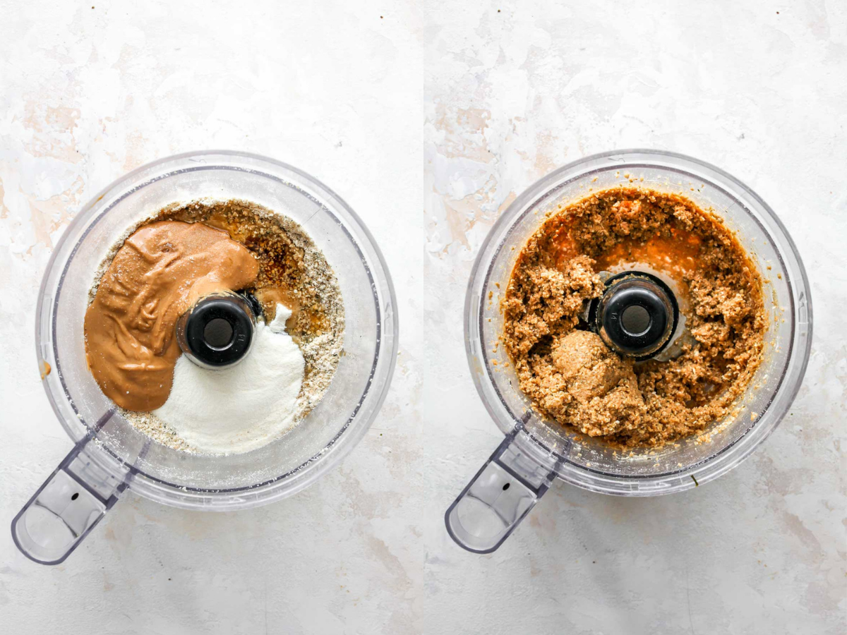 Cashew butter, collagen, and maple syrup being blended in a food processor