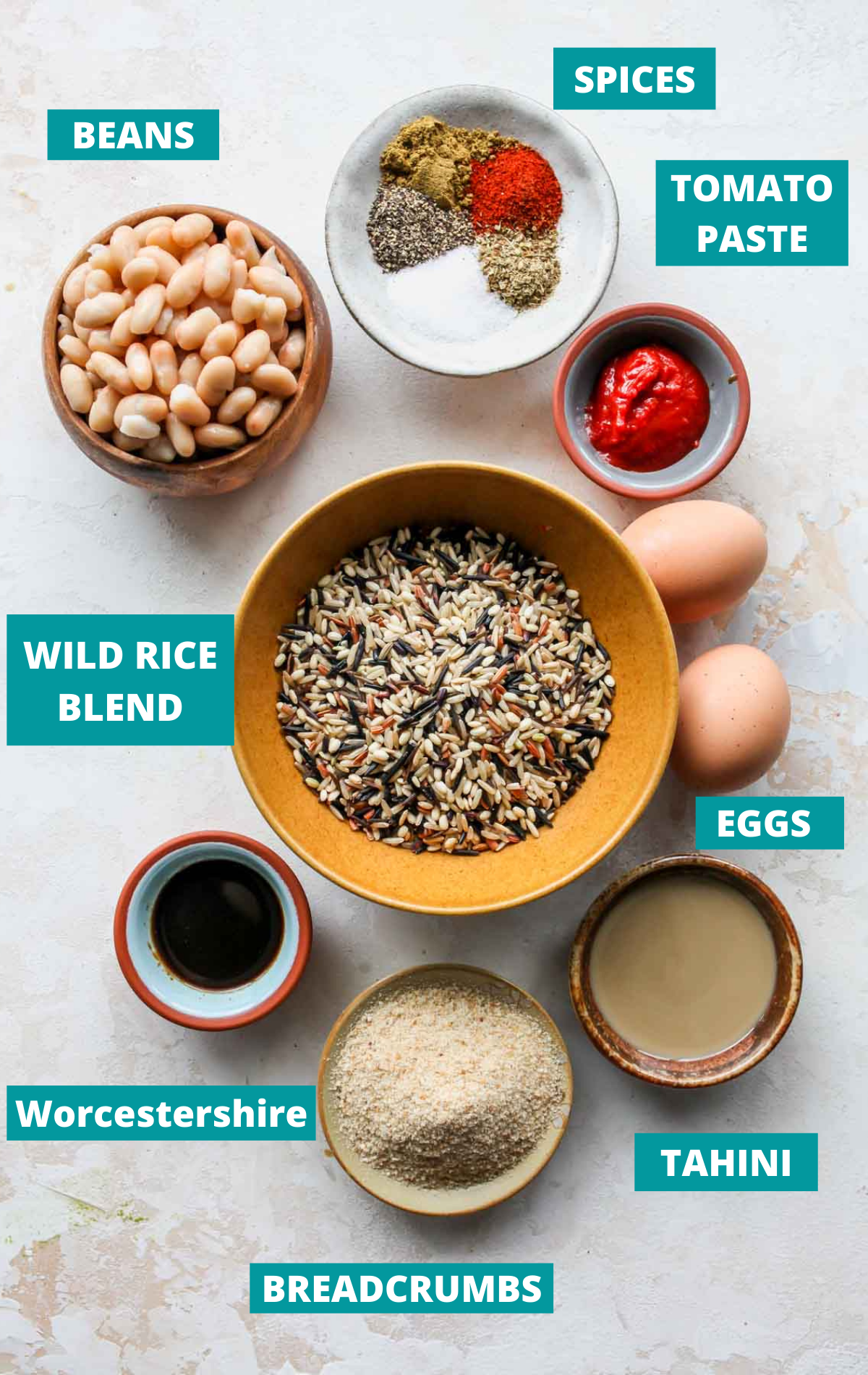 Recipe ingredients in separate bowls with teal labels