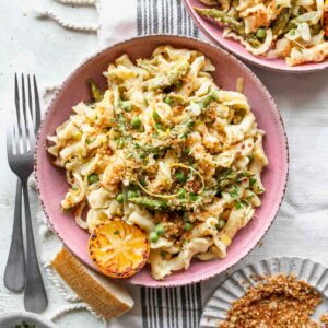 Lemon asparagus pasta topped with lemon-basil breadcrumbs