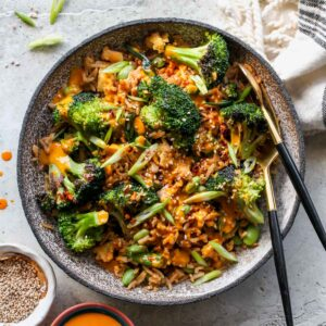 Broccoli Fried Rice with Turmeric-Tahini Sauce