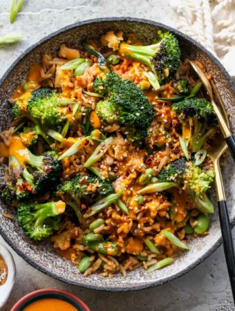 Broccoli Fried Rice with Turmeric-Tahini Sauce