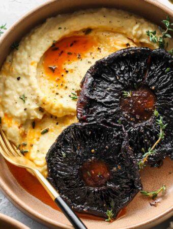 Balsamic-Roasted Portobello Steaks with Butter Bean Mash