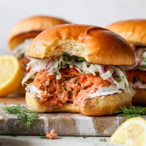 Salmon sandwiches with lemon aioli and fennel slaw