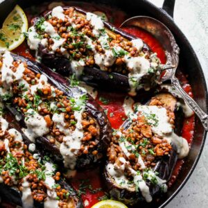 Lentil Stuffed Eggplant with Cardamom Sauce and Tahini Drizzle