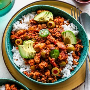 Vegan Tofu Picadillo over rice
