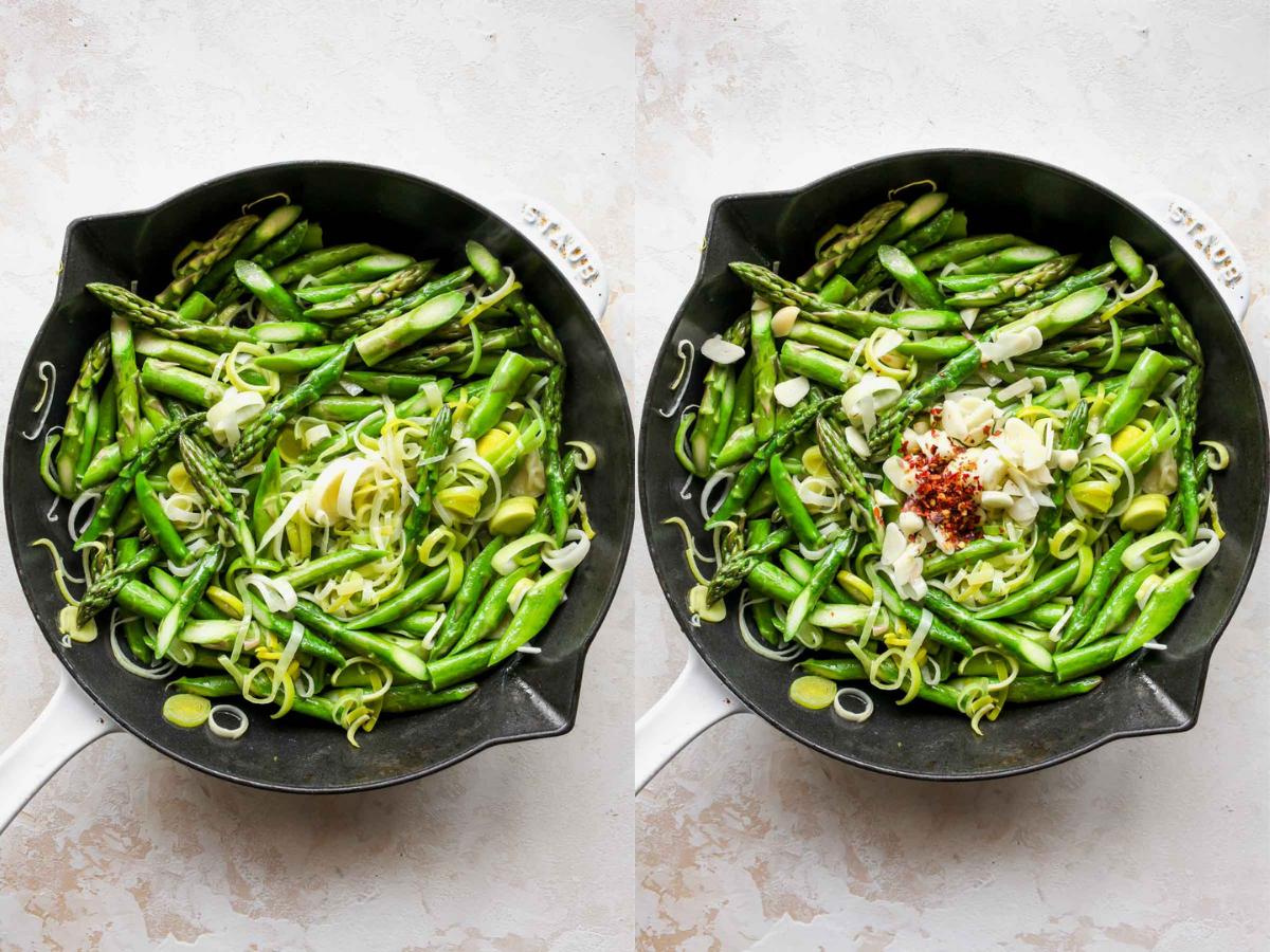 Asparagus, leeks, and garlic sautéing in a skillet