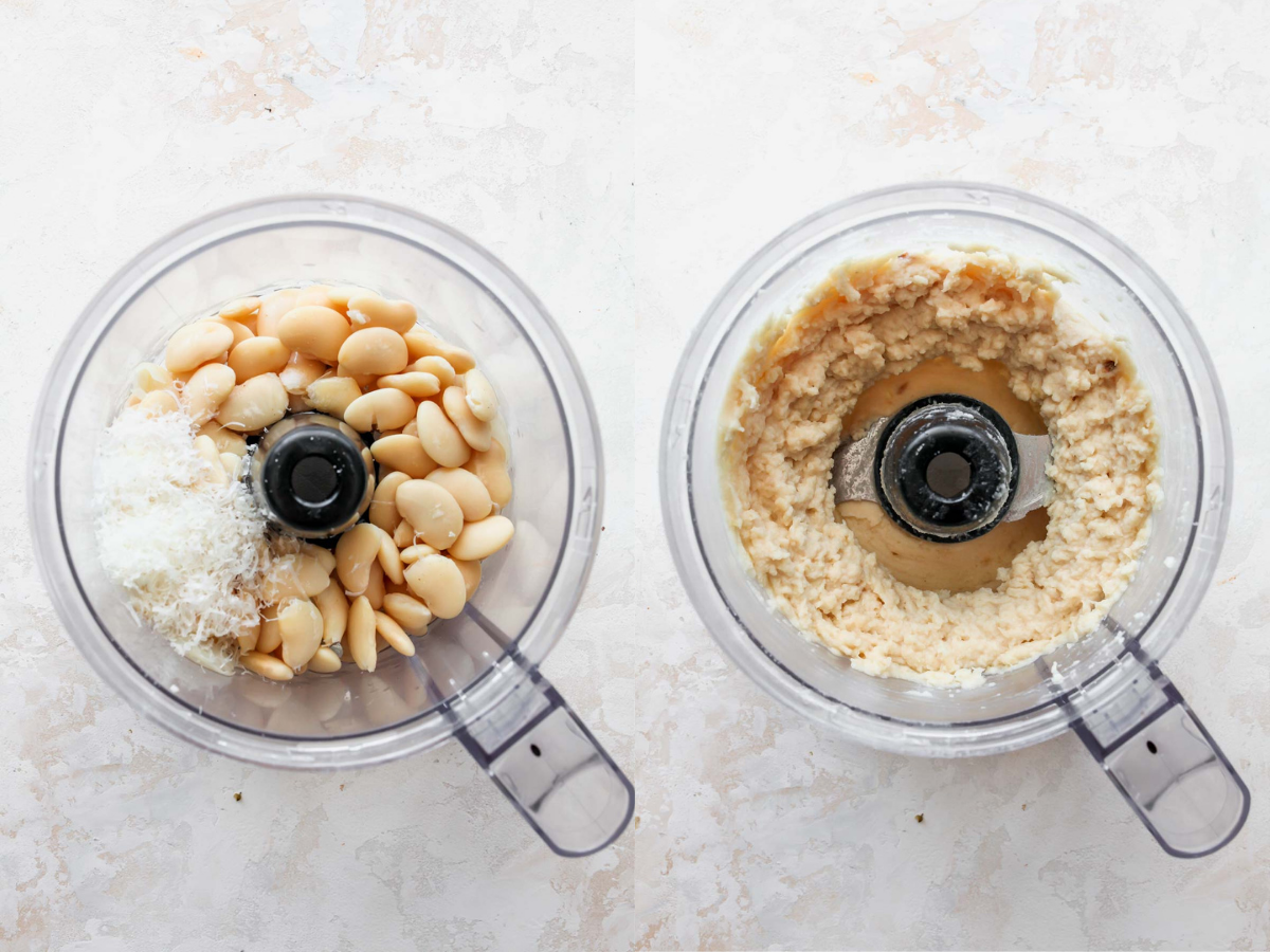 Butter beans being blended until smooth in a food processor