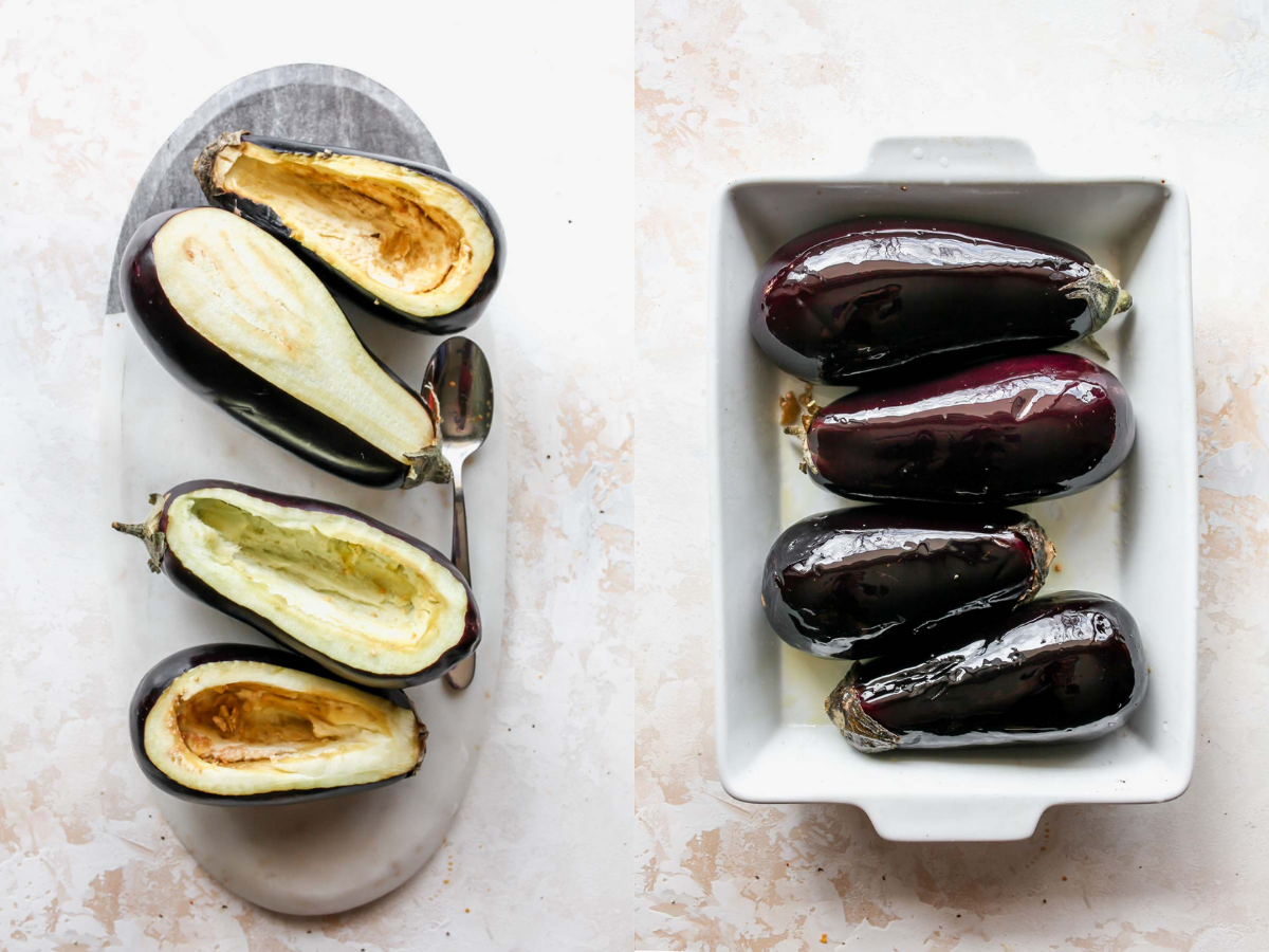 4 globe eggplants being sliced into and arranged in a baking dish