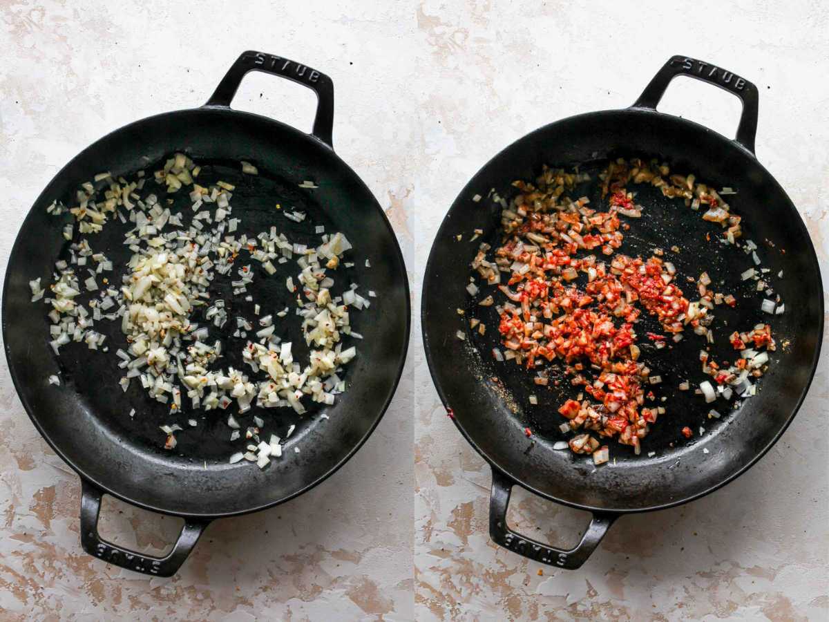 Shallots, garlic, and tomato paste being cooked in a black cast iron pan
