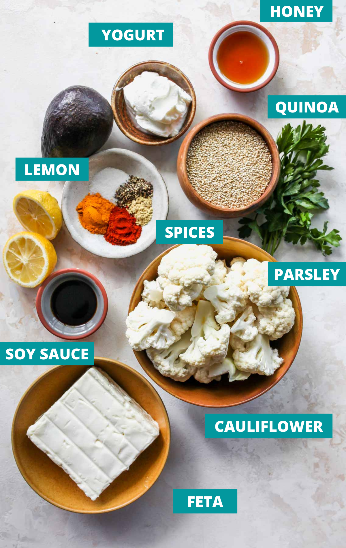 Recipe ingredients in bowls on a white surface with blue labels