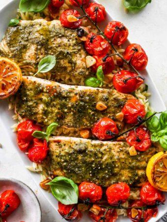 Baked Pesto Salmon with Roasted Tomato Orzo