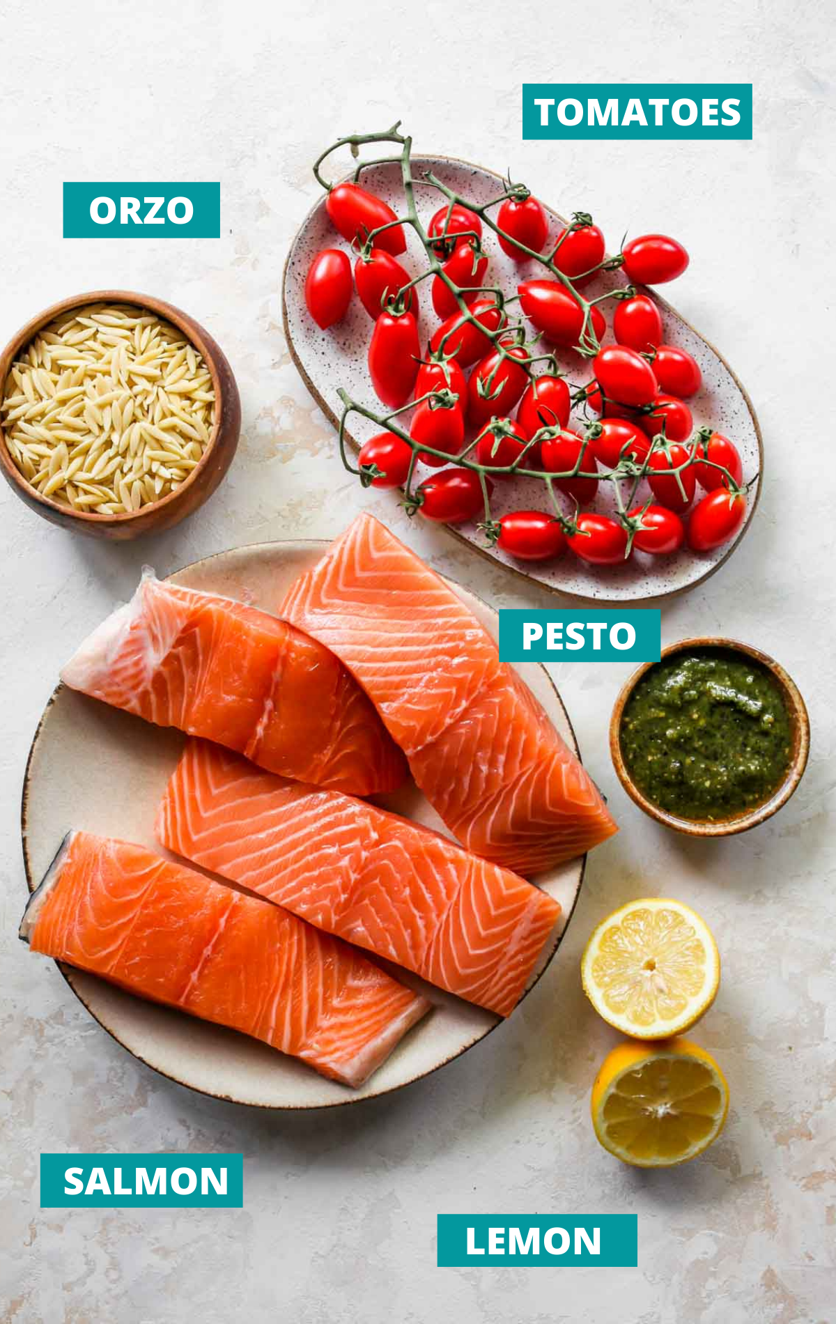 Salmon, pesto, tomatoes, and orzo in separate bowls with ingredient labels