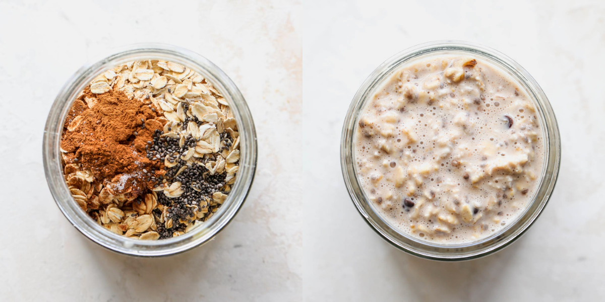 Overnight oats being prepared in a glass jar