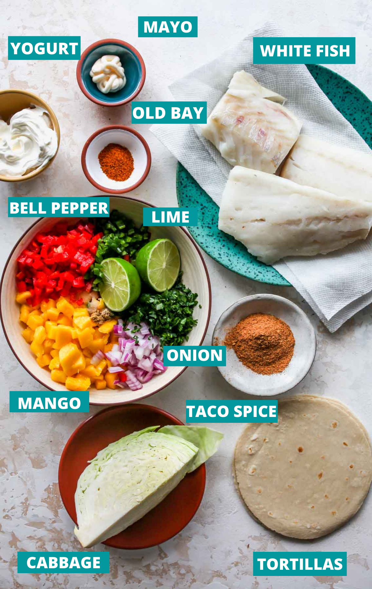 Fish taco ingredients on a white board with blue labels