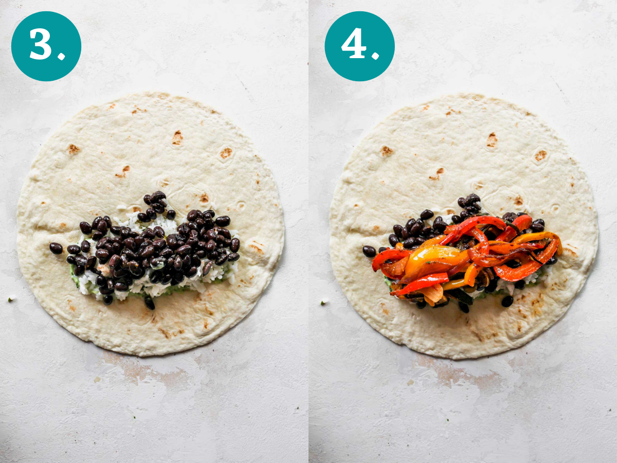 Black beans and fajita veggies being added to a tortilla