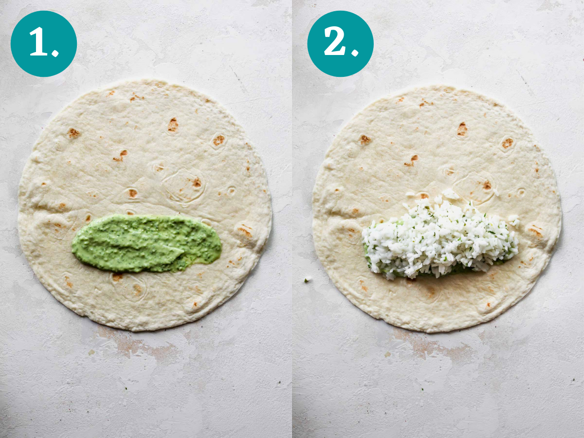 Avocado cream and rice being added to a tortilla