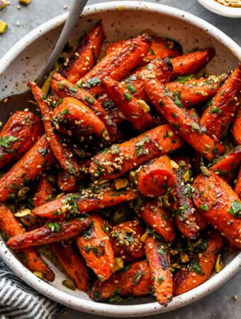 Coriander Roasted Carrots with Parsley and Pistachios