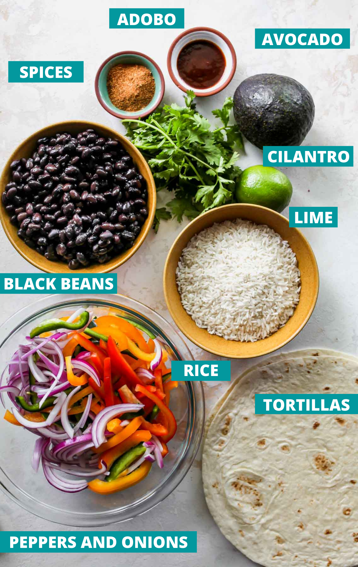 Burrito ingredients in separate bowls with blue labels