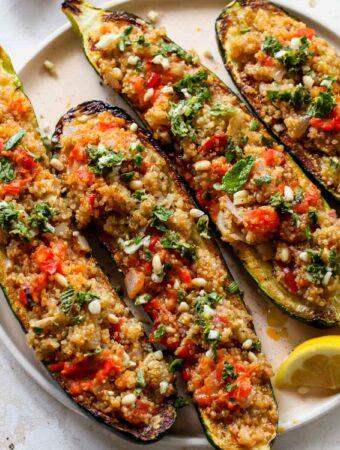Quinoa Stuffed Zucchini with Harissa Butter