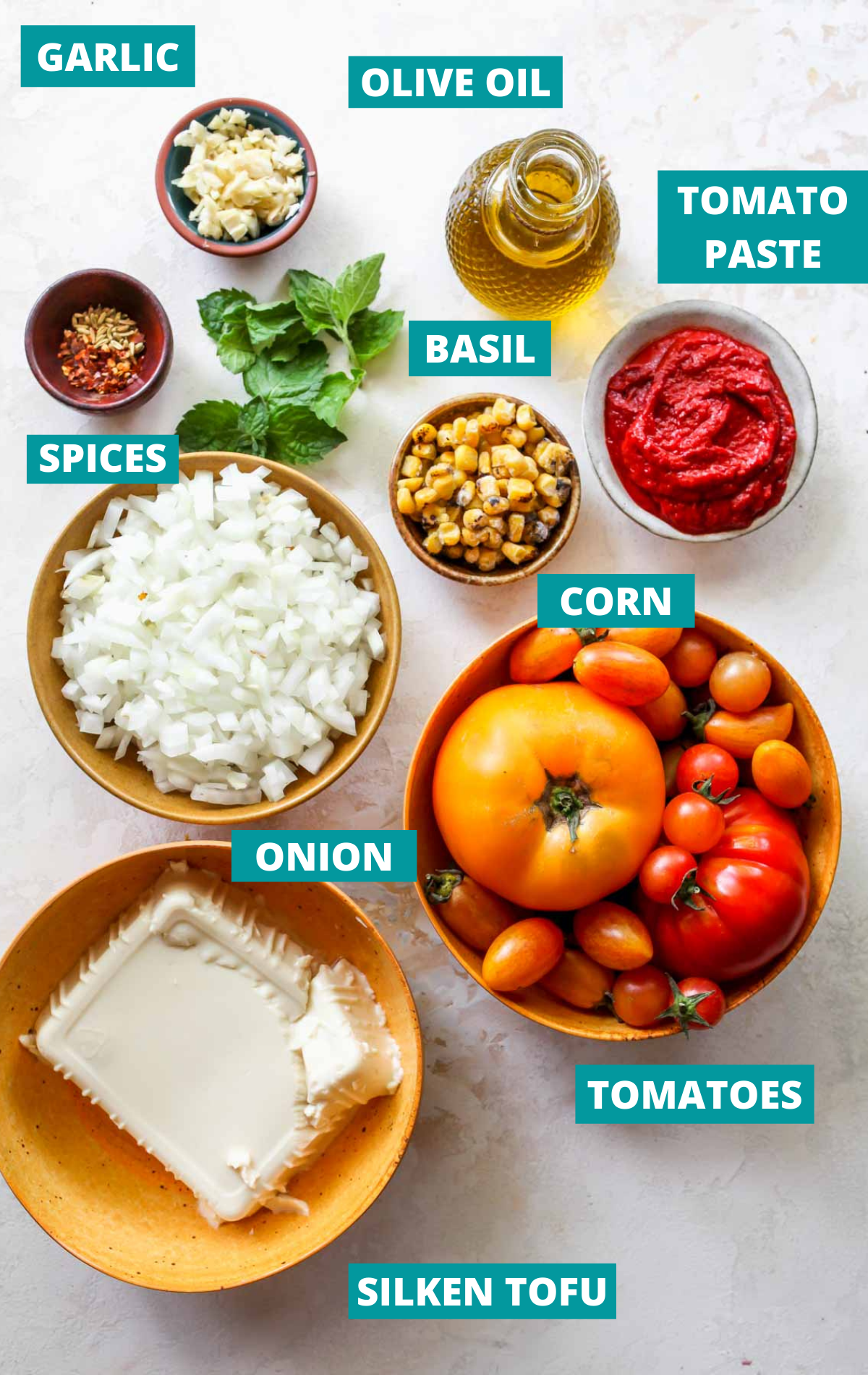 Soup ingredients on a white board with blue labels
