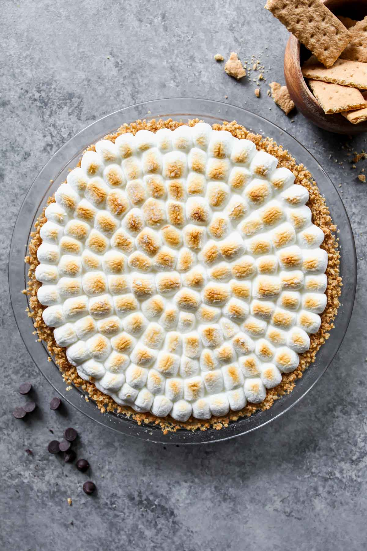 S'mores pie topped with torched marsmallows