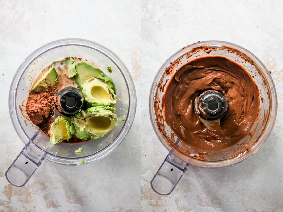Chocolate avocado pudding being blended in a food processor