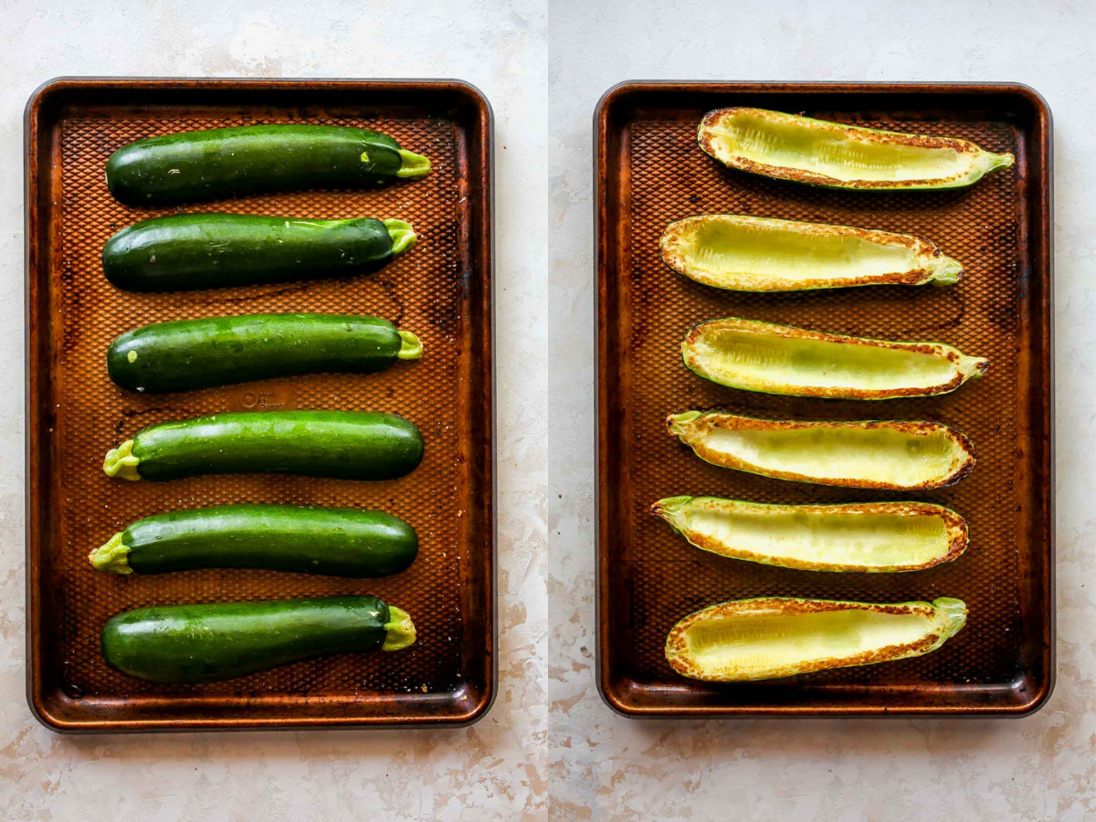 Zucchini halves being roasted on a sheet pan