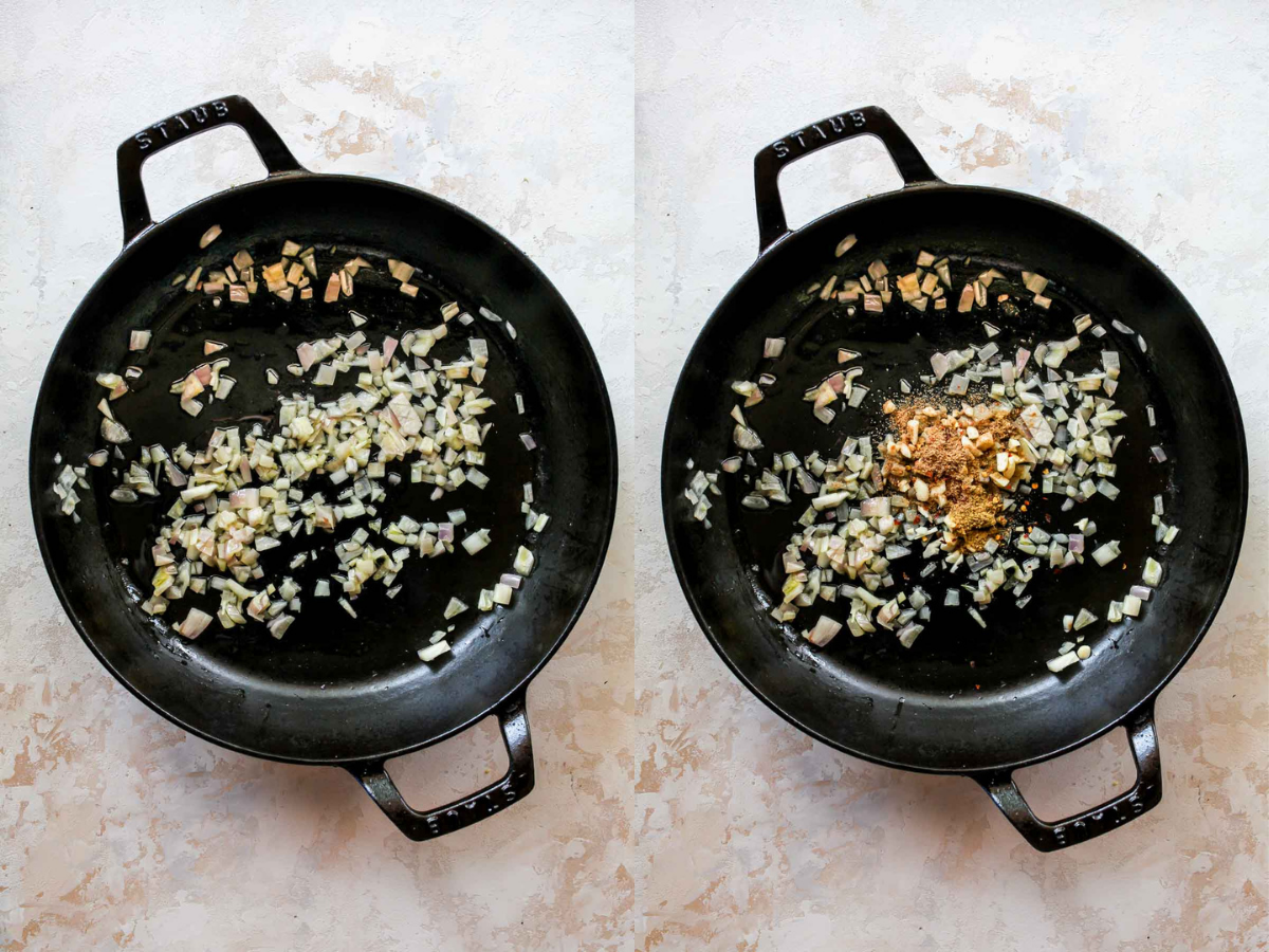 Shallots, garlic, and chili flakes being sautéed in a skillet