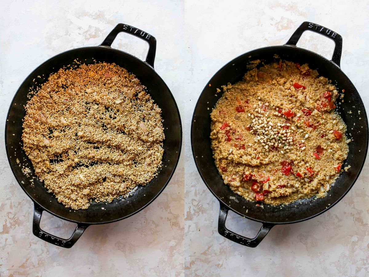 Quinoa being cooked in a skillet