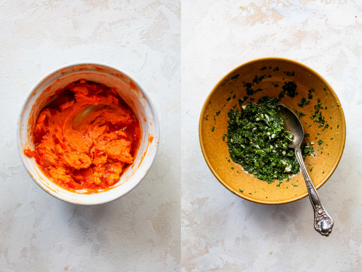 Harissa butter being mixed in a bowl, and parsley being mixed in a separate bowl