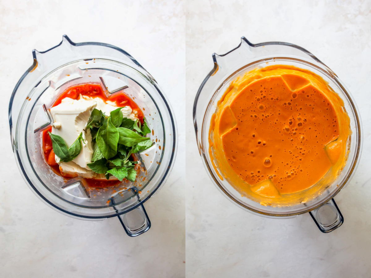 Tomatoes, tofu, and basil being blended until smooth in a blender