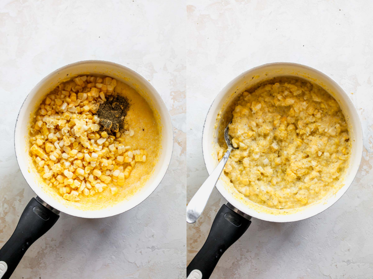 Grits and fresh corn cooking in a saucepot