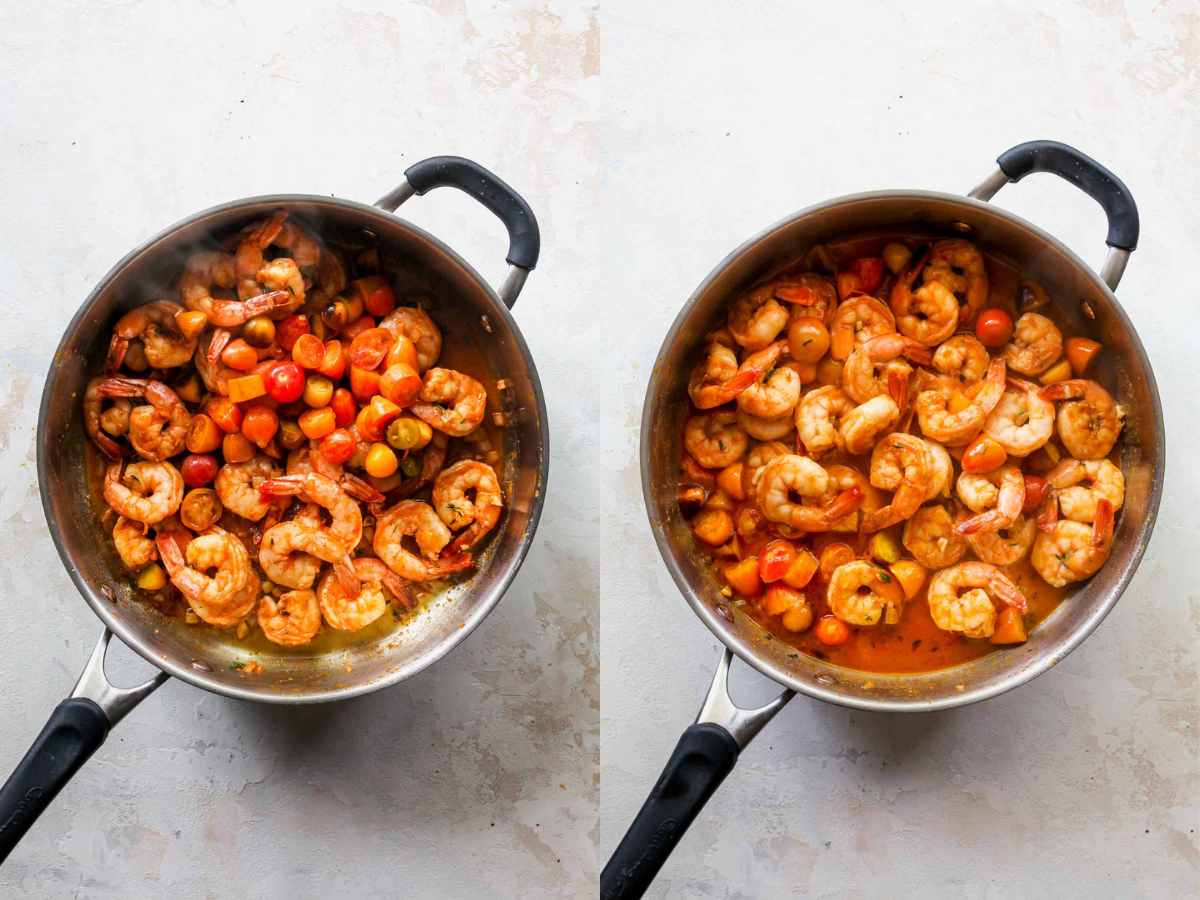 Shrimp, tomatoes, and white wine being sautéed in a skillet