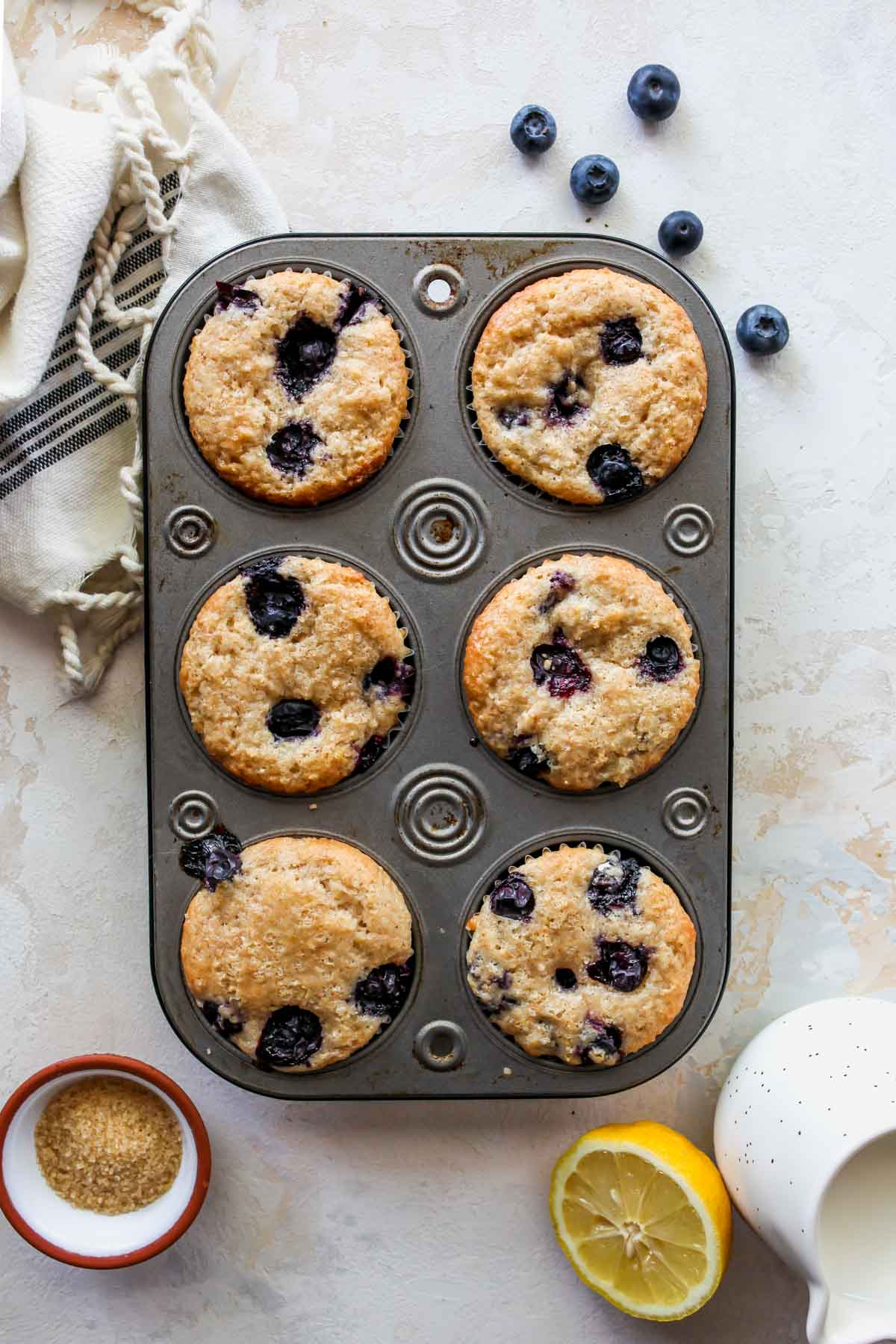 Blueberry muffins baked in a muffin tin